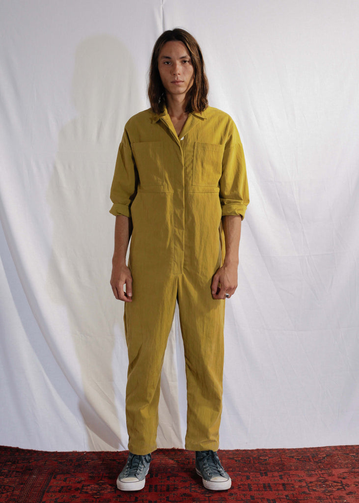 Cotton Mechanics Jumpsuit in Mustard