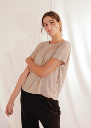 Cotton Silk T-Shirt S/S in Crokery
