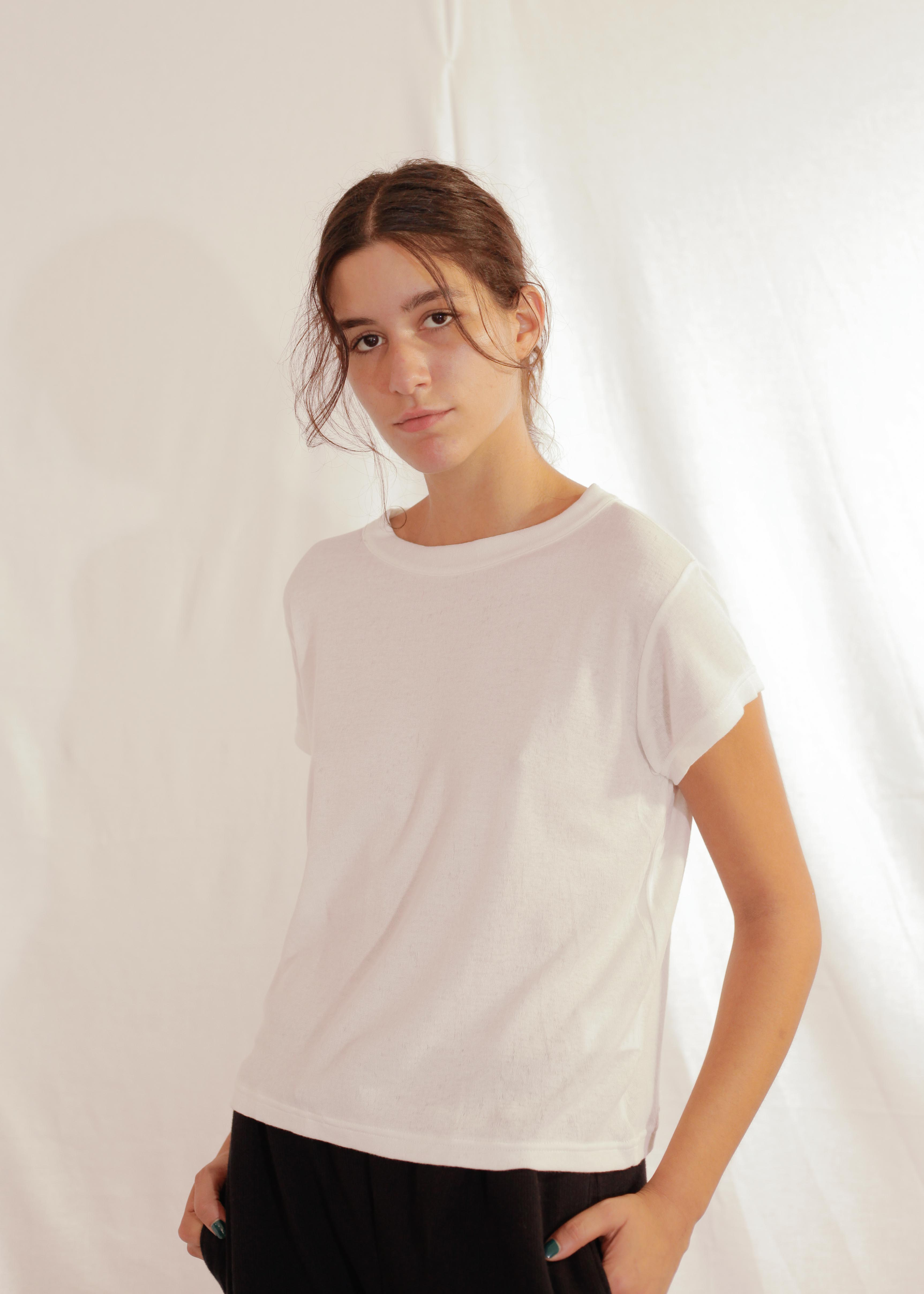 Cotton Silk T-Shirt S/S in Off White
