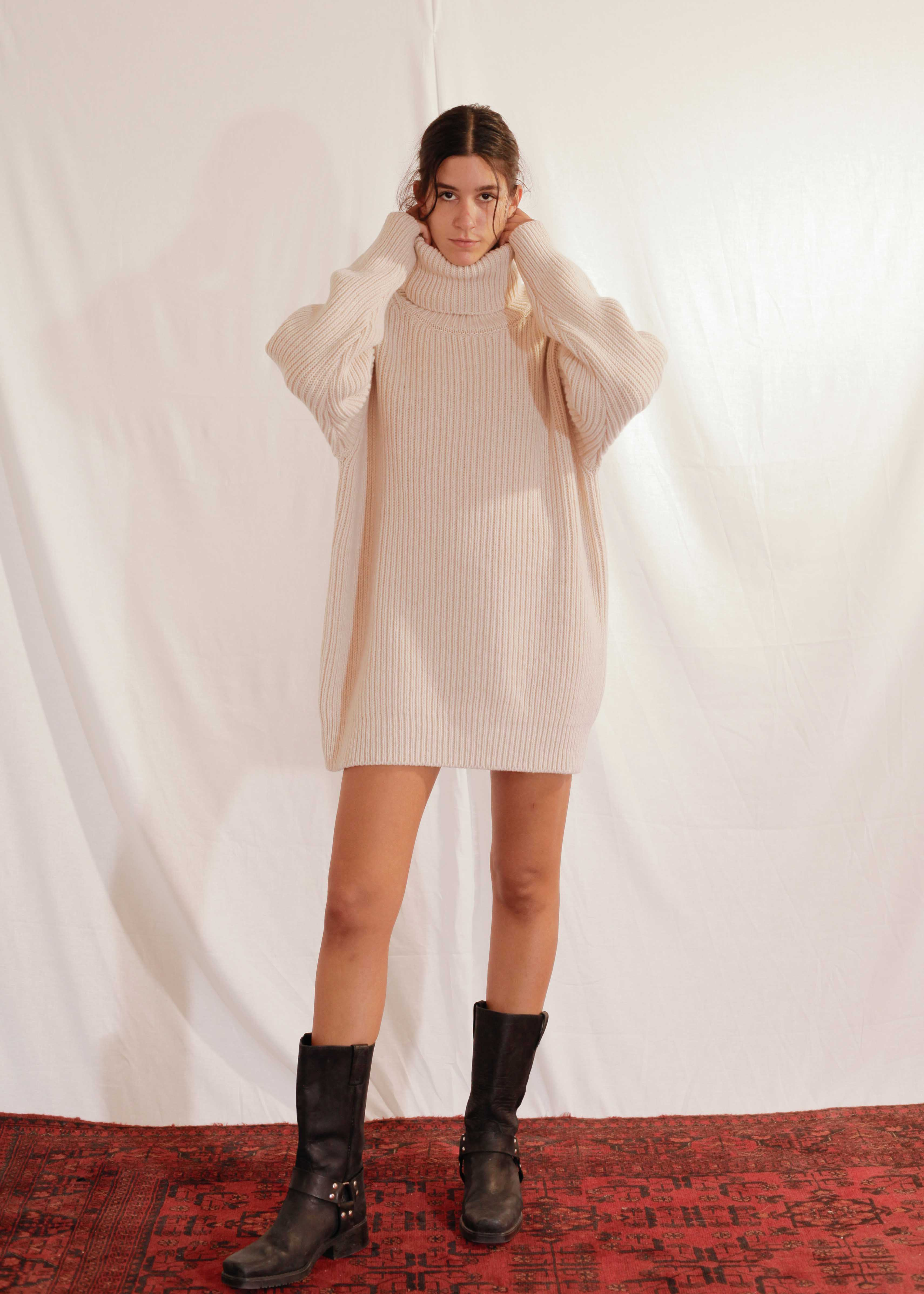 Chunky Turtleneck in Off White