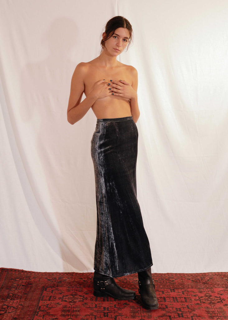 Viscose and Silk Velvet Skirt in Blue Graphite