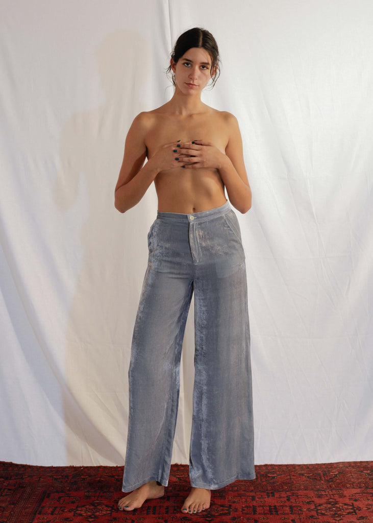 Viscose and Silk Velvet Pants in Moon Mist
