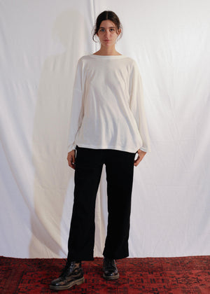 Cotton Silk T-Shirt L/S in Off White