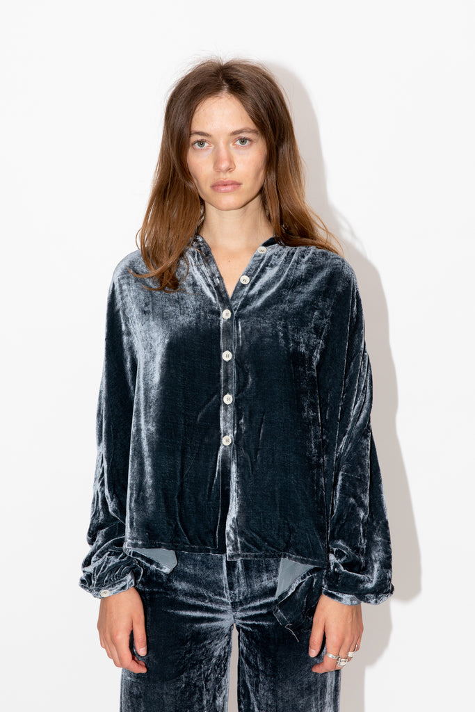 Viscose and Silk Velvet Blouse in Blue Graphite