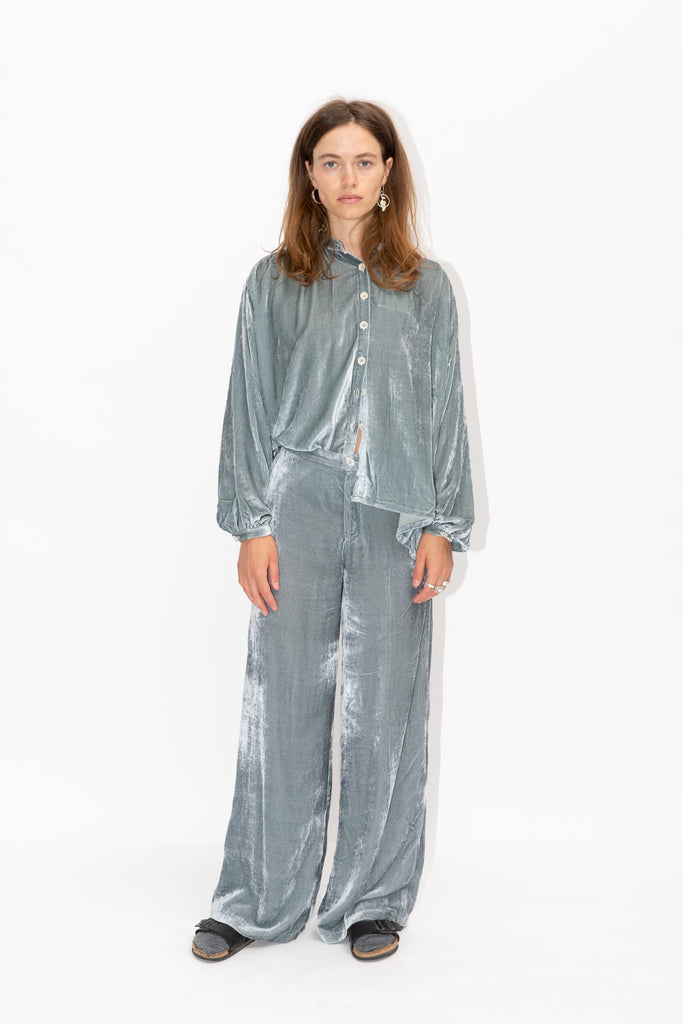 Viscose and Silk Velvet Blouse in Moon Mist