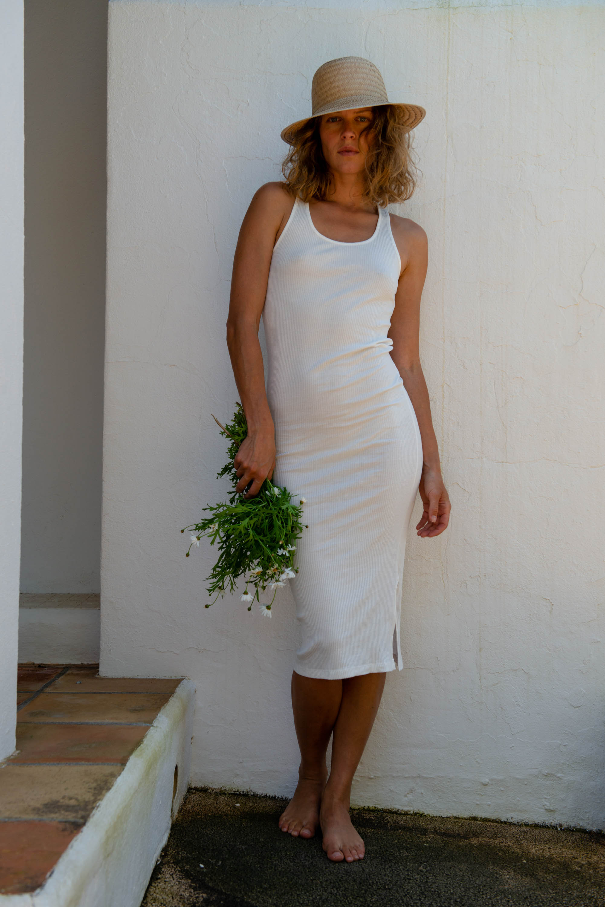 Racer Tank Dress in White
