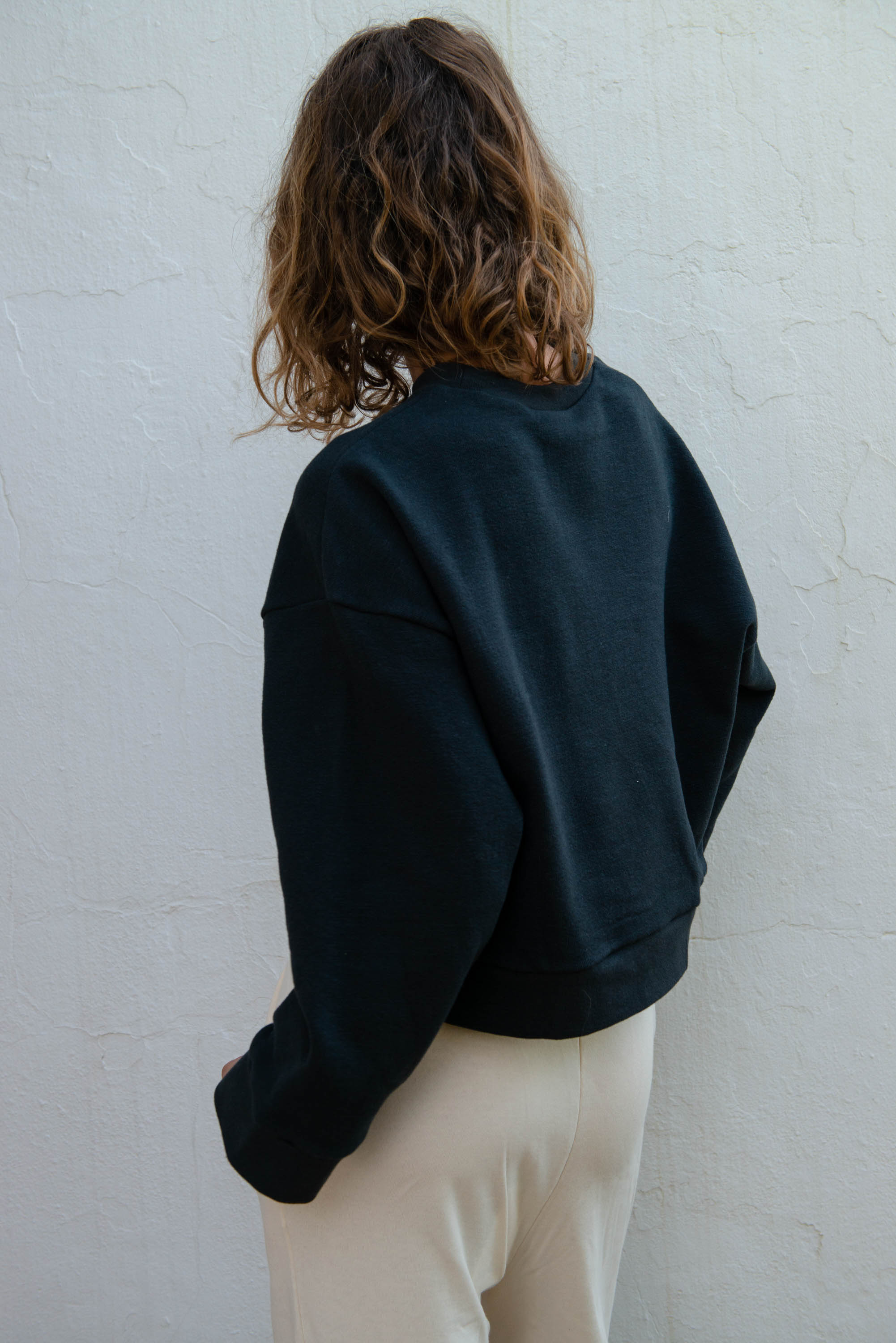 Cropped Sweater in Caviar