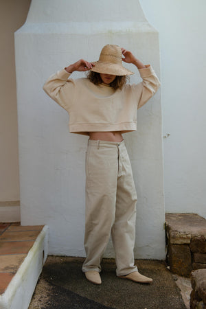 Cropped Sweater in Macadamia
