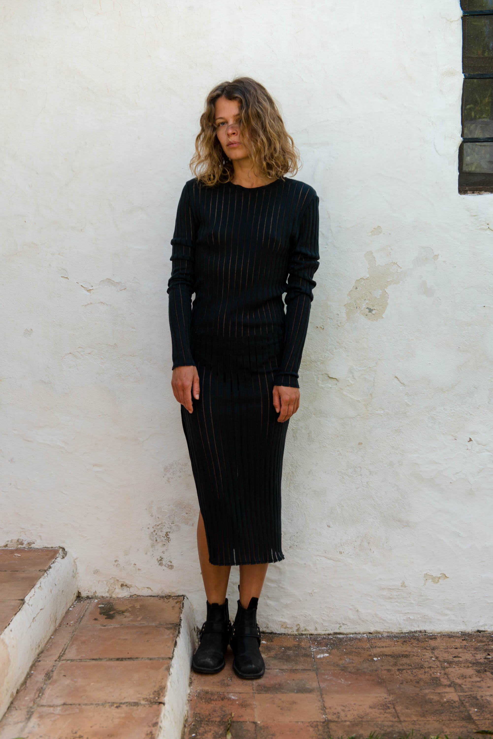 Skinny Dress L/S in Black