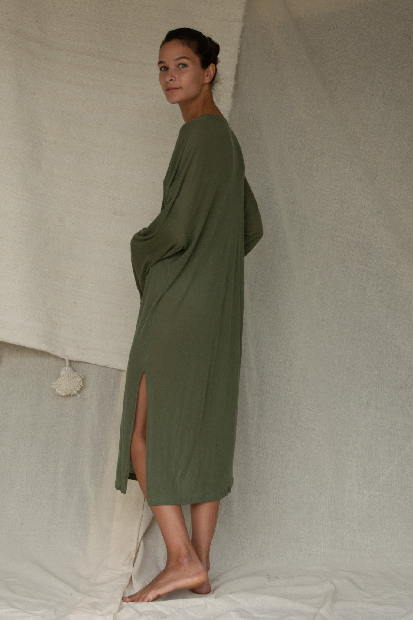 Light Midi Dress in Olivine