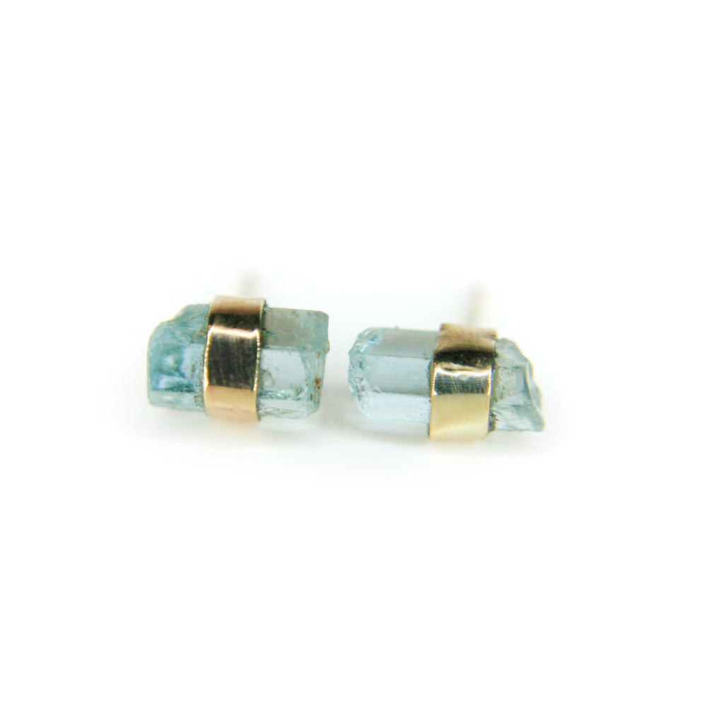 Aquamarine Studs in 14K gold