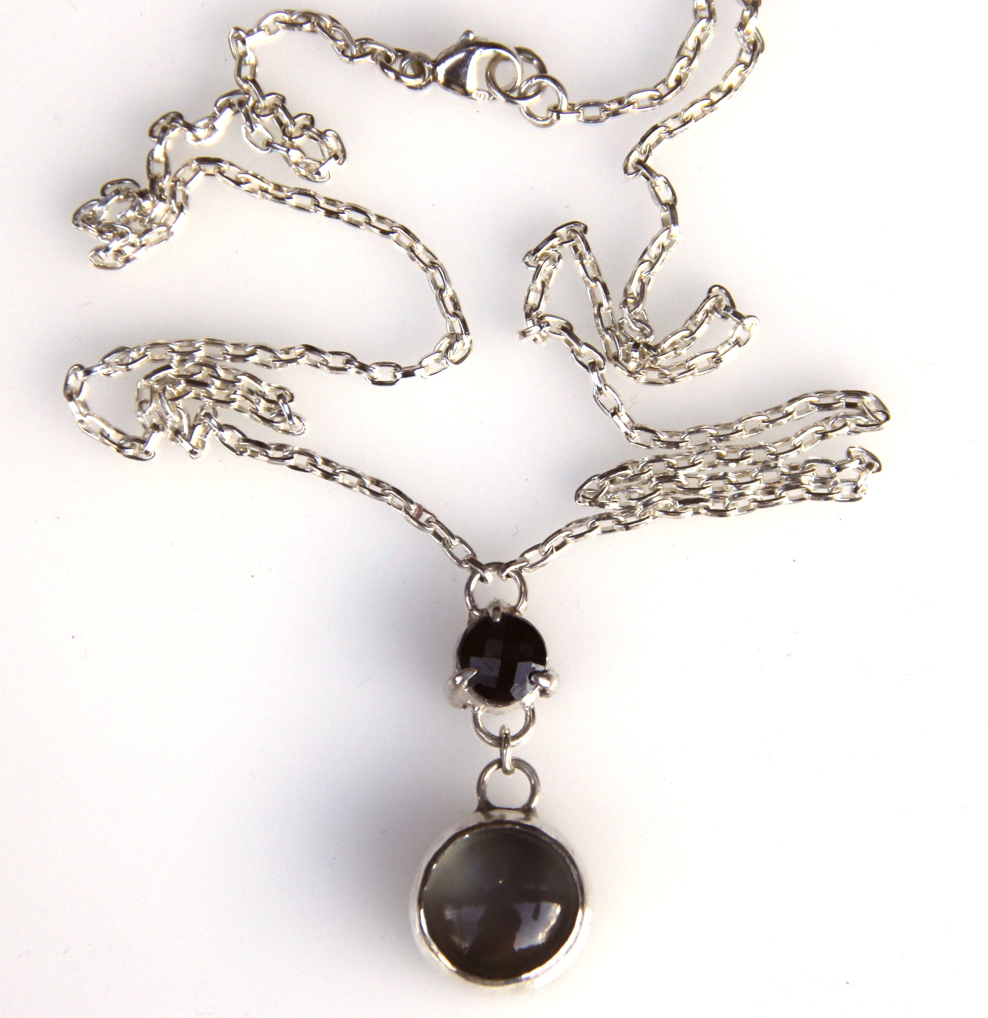 necklace women sterling long silver products bead black s spinel pin