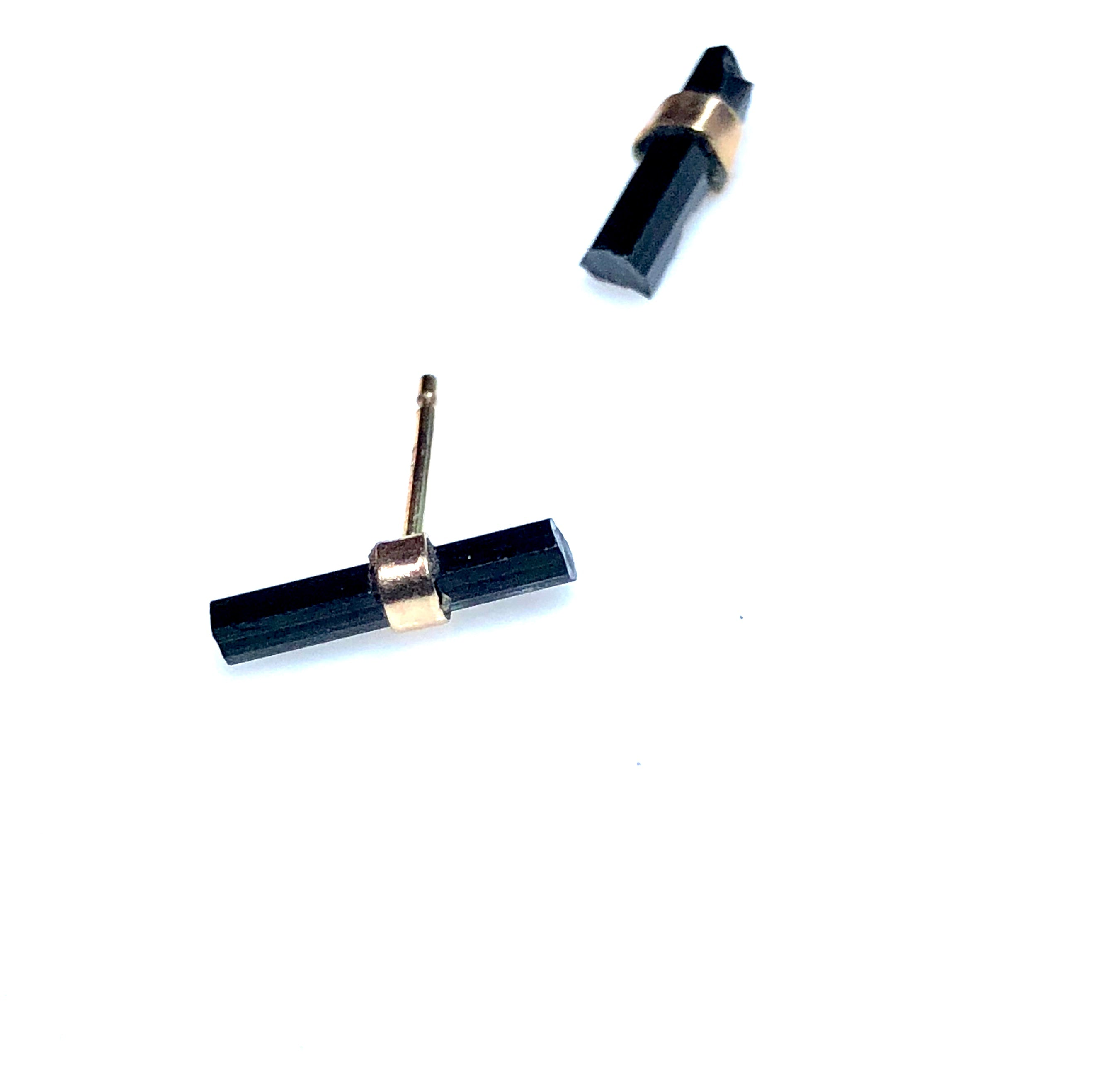 Black Tourmaline Studs in 14K Gold