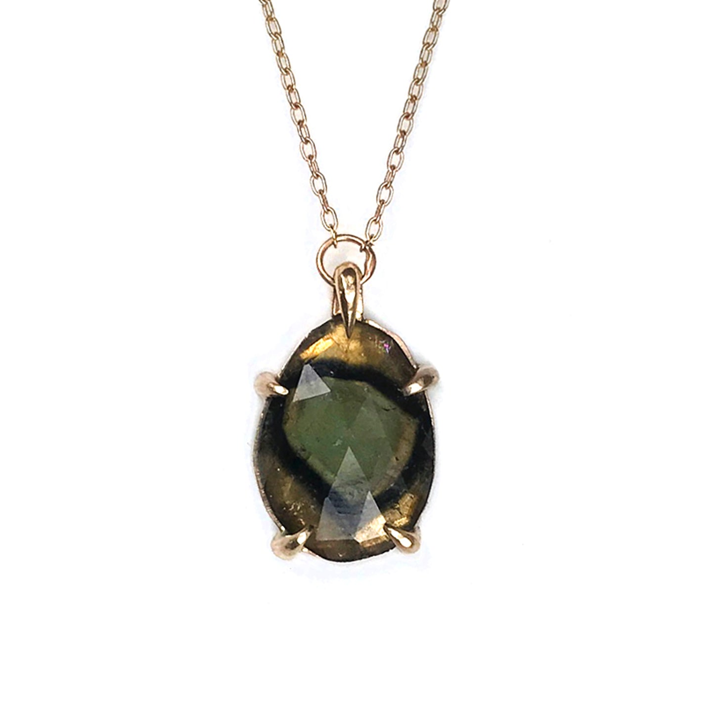 Green Tourmaline 14K gold necklace
