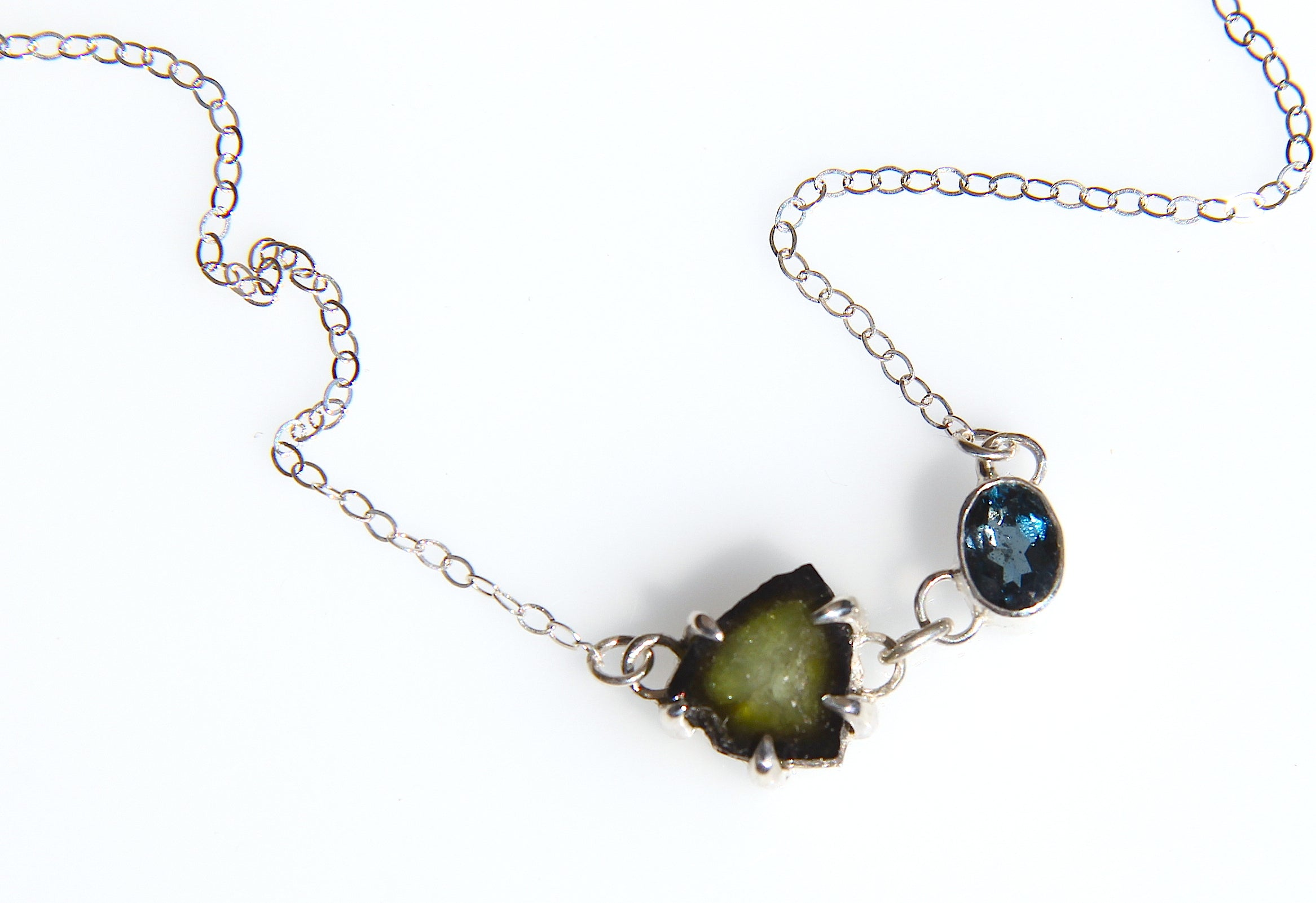 Green Tourmaline and London Blue Topaz Necklace