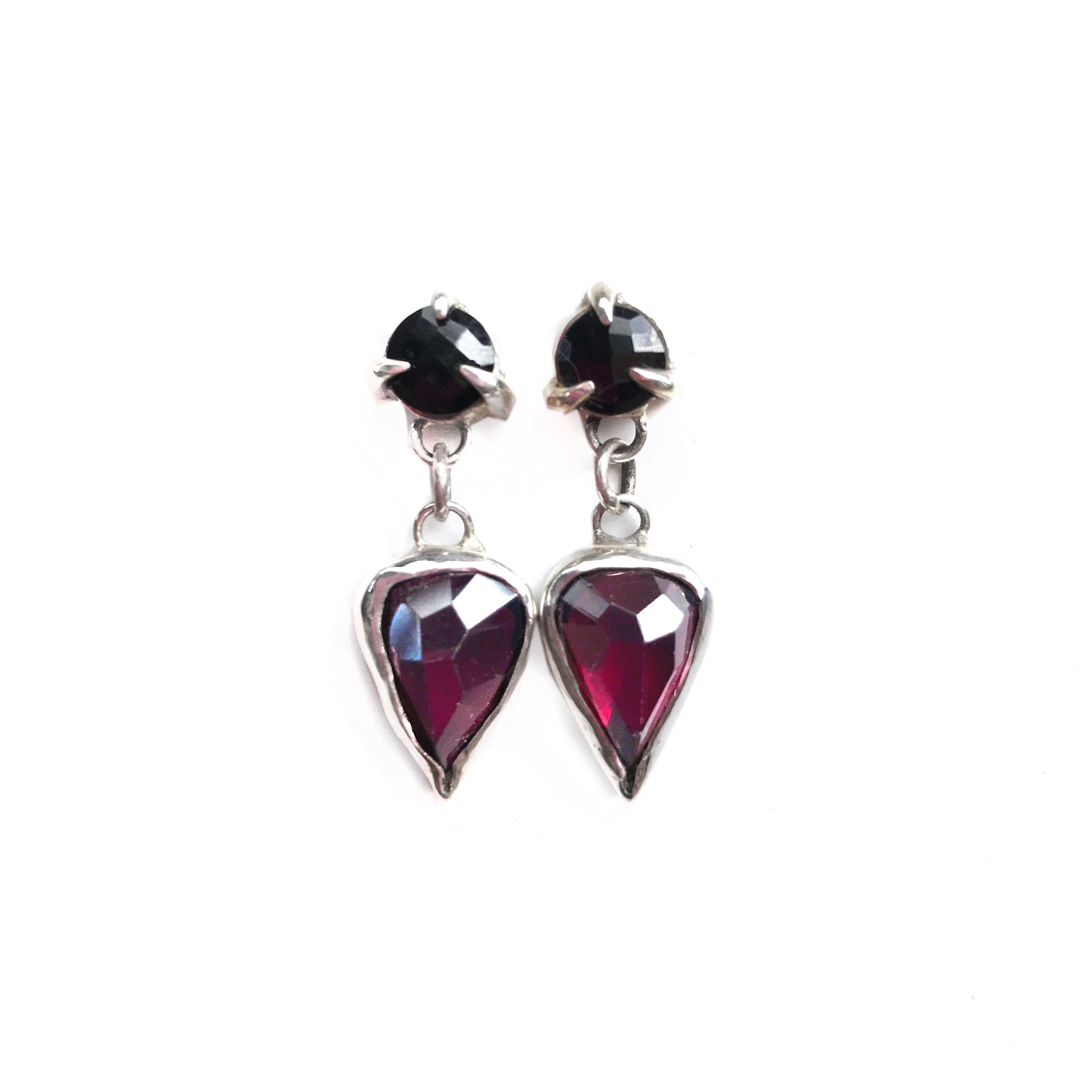 Black Spinel and Garnet Earrings