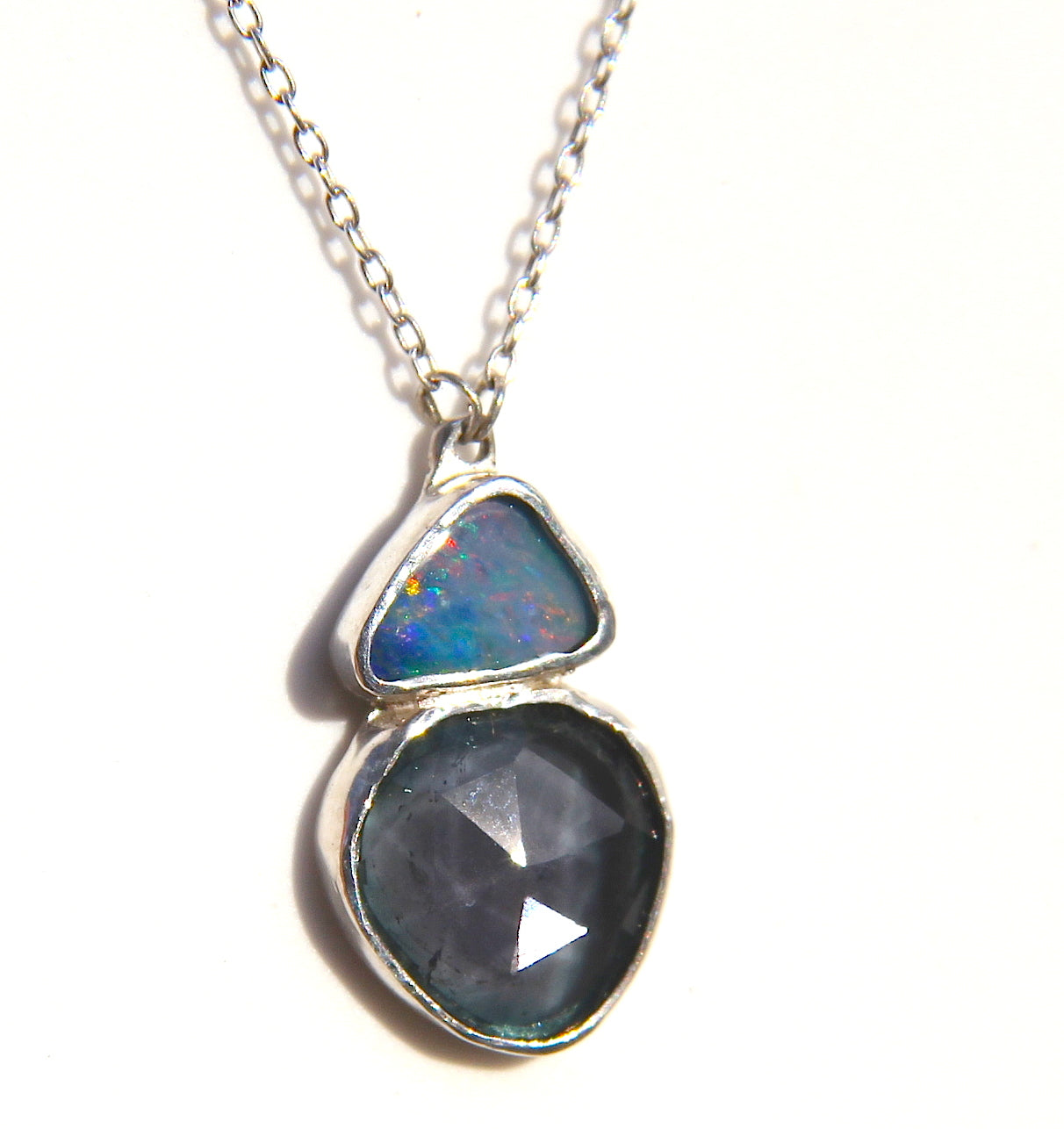 Opal and Green Tourmaline Necklace in Silver