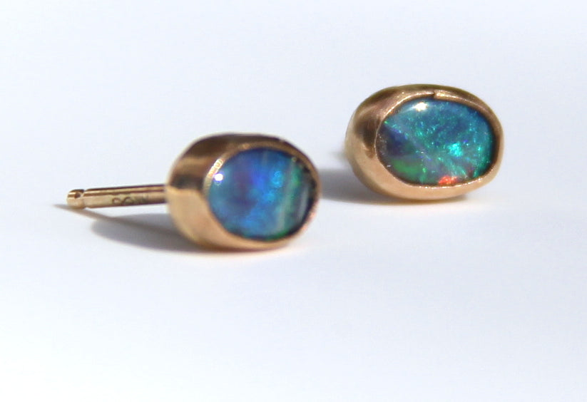 14K gold Oval Opal Stud Earrings