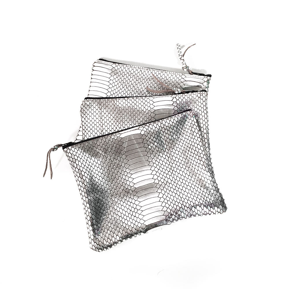 Saint Catello Zippy Pouches in Silver