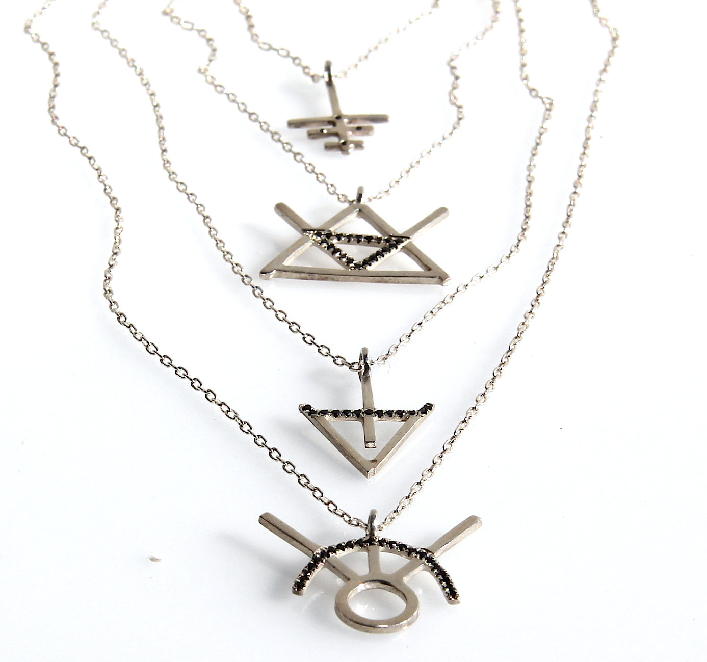 Alchemy Fire Symbol Necklace in Silver with black diamonds
