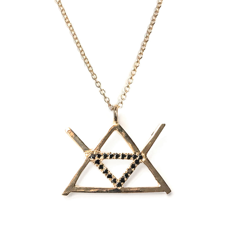 Alchemy Fire Symbol in 14K gold with black diamonds