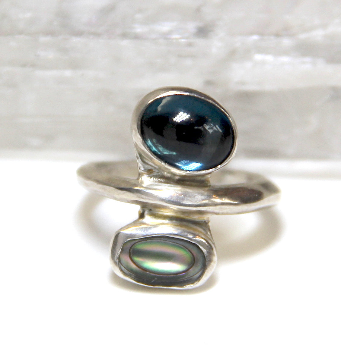 London Blue Topaz and Abalone Ring