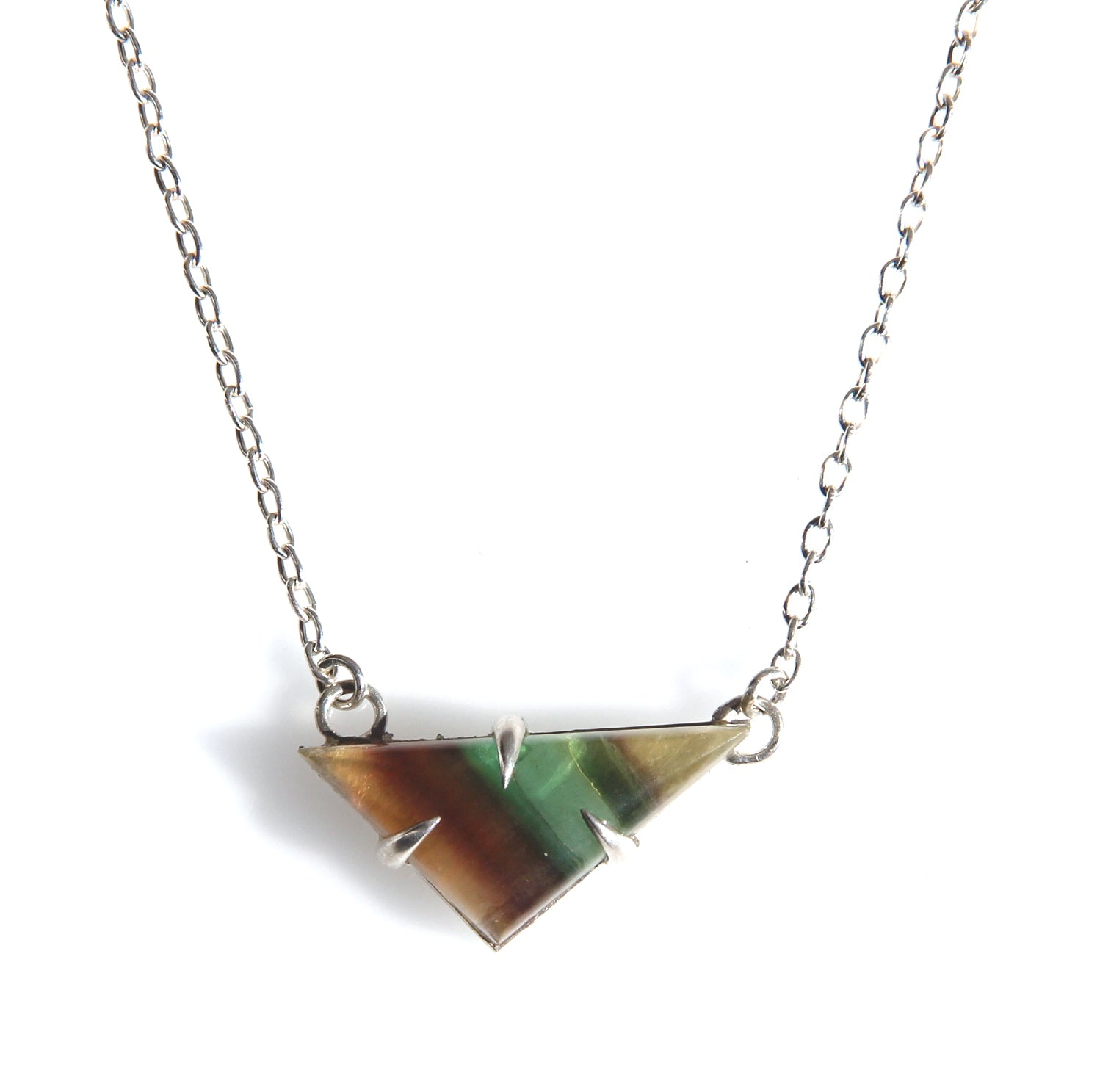 Fluorite Scalene Triangle Necklace