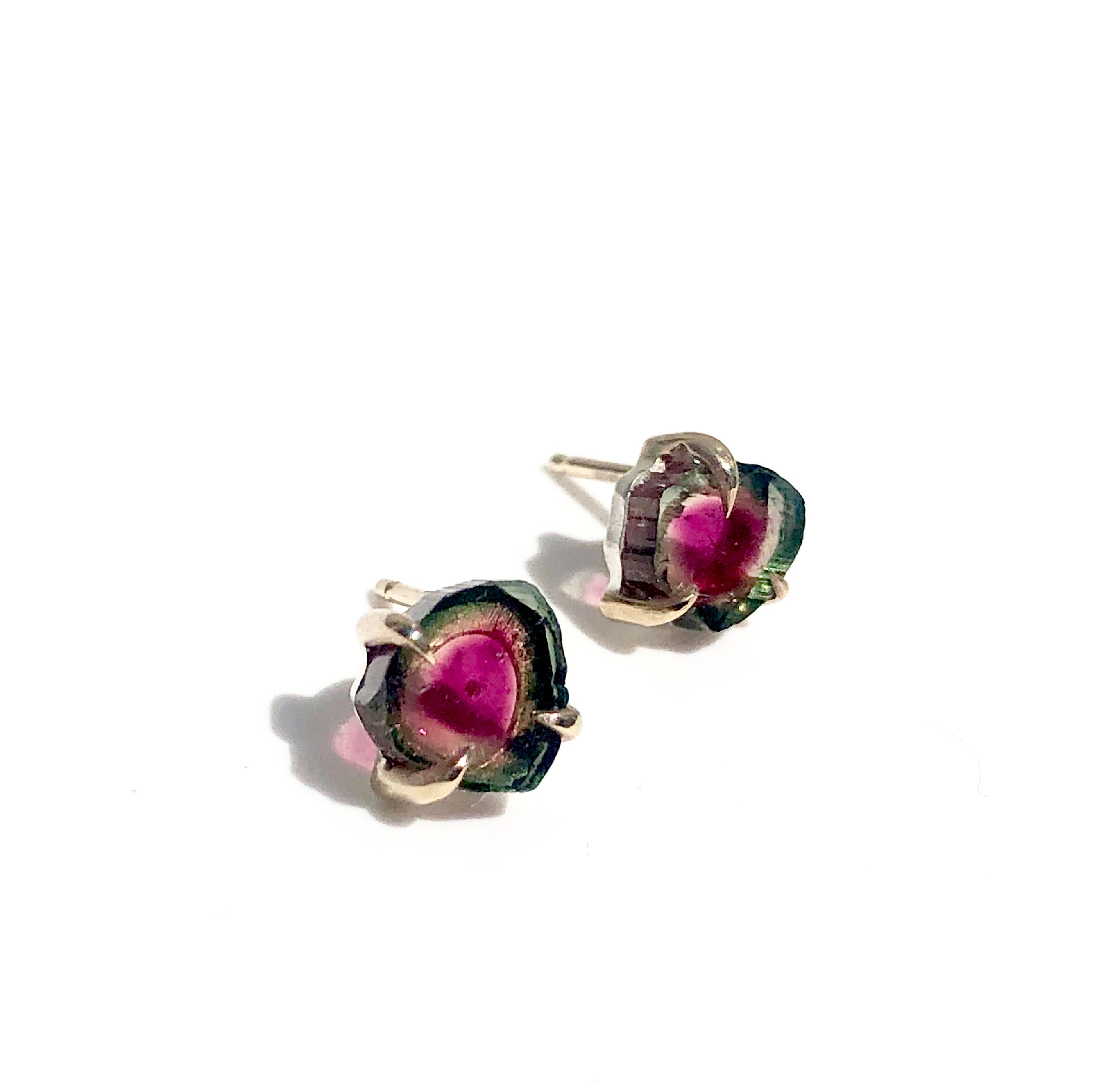 Watermelon Tourmaline stud earrings