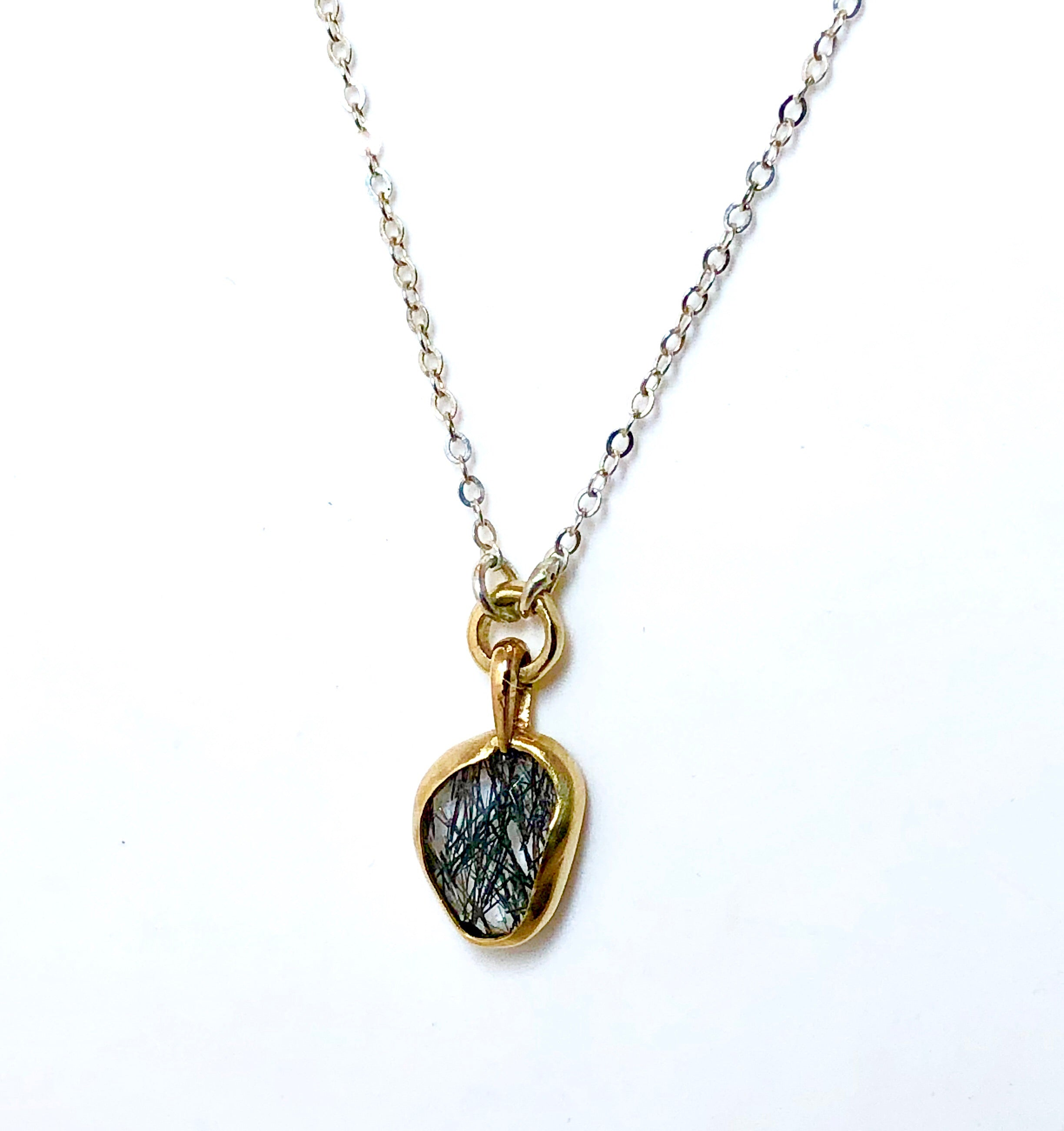 Black Tourmilated Quartz Necklace