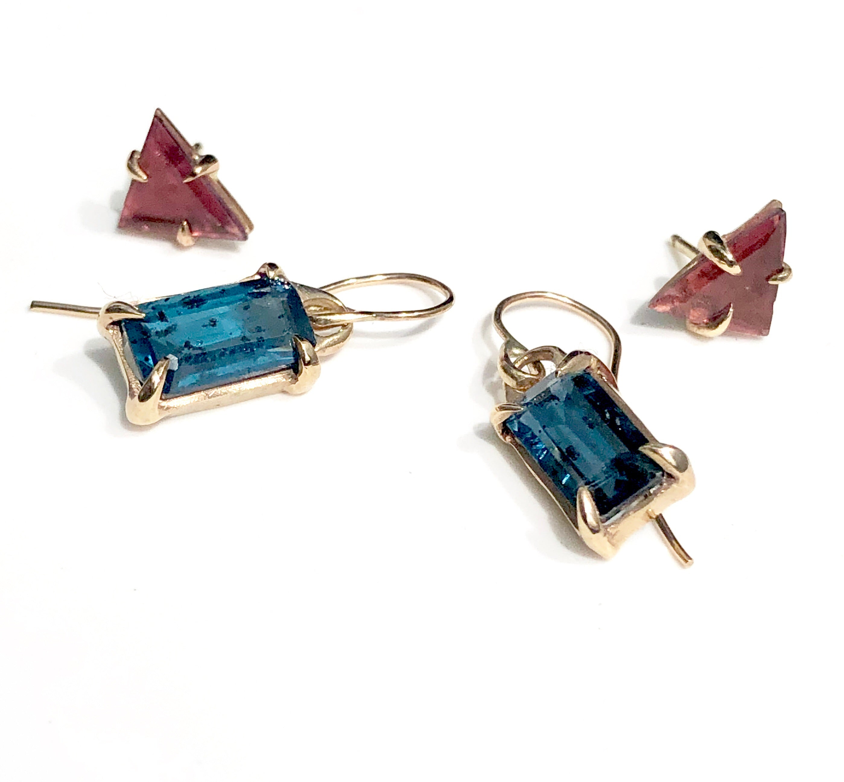 Teal Kyanite Baguette Dangles