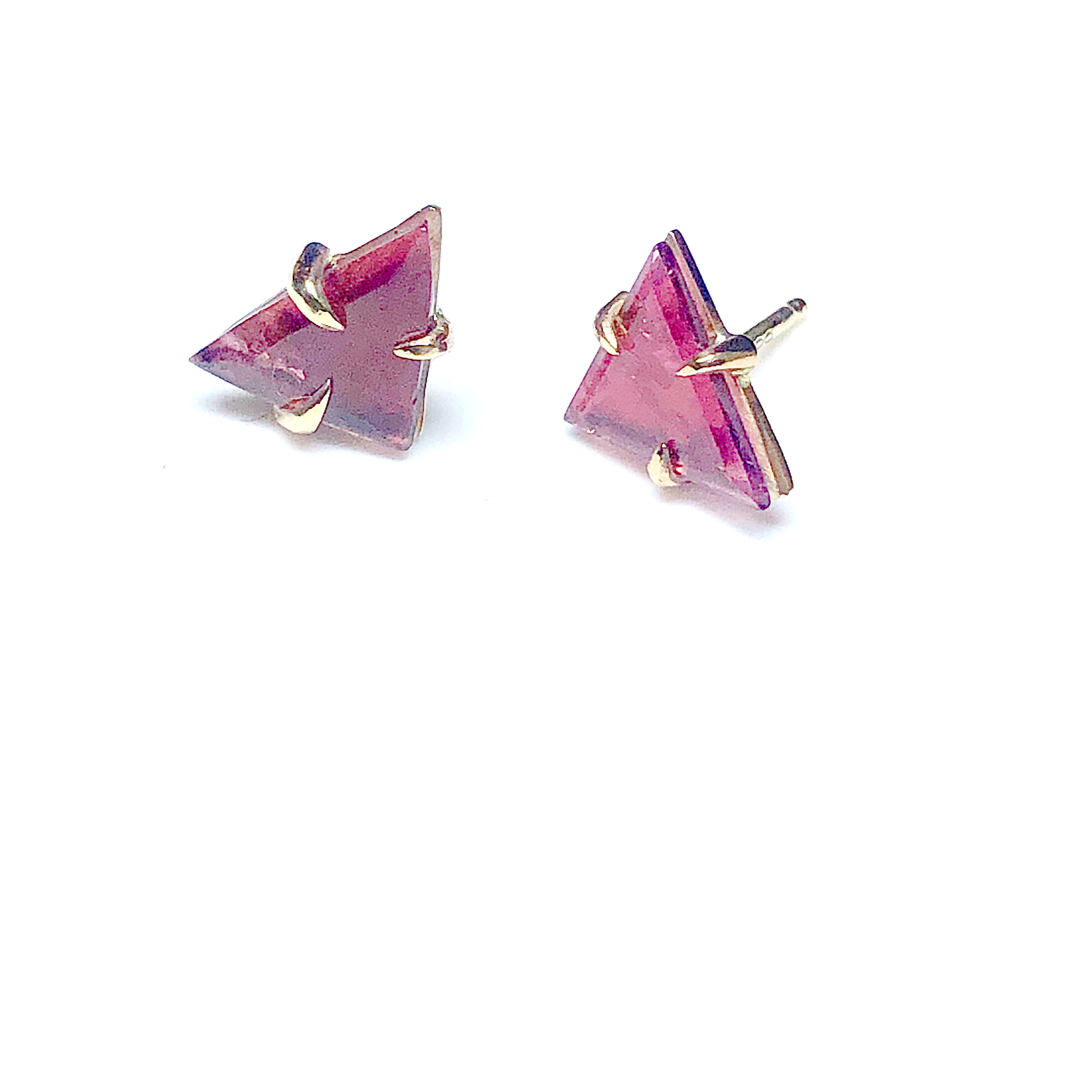 Triangle pink tourmaline stud earrings