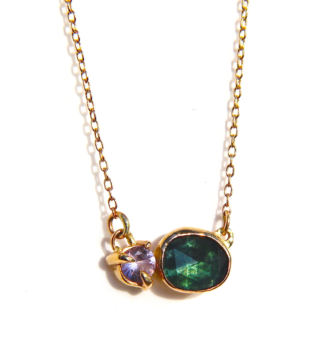 Lavender Spinel and Green Tourmaline Necklace