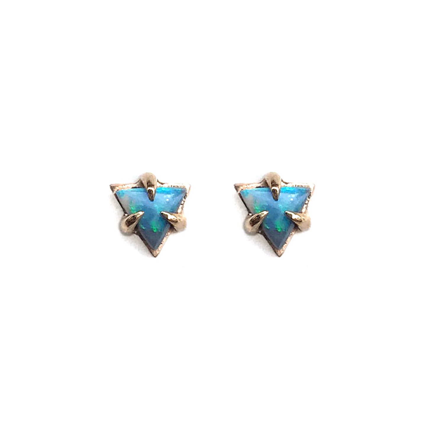 Triangle Opal Stud Earrings in gold