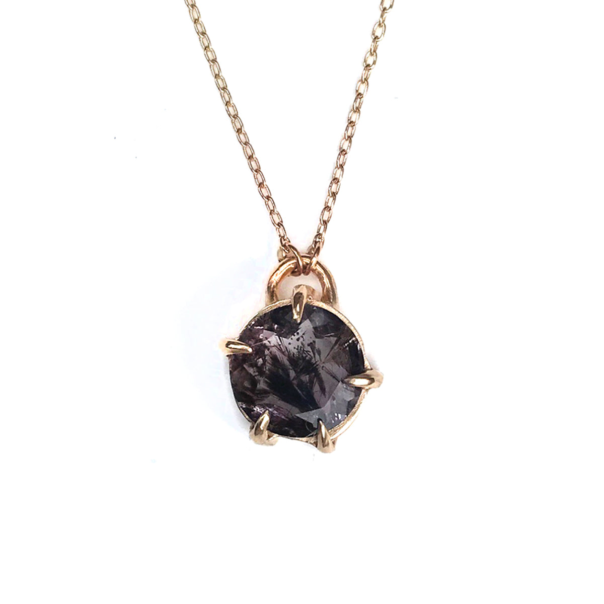 Faceted Super Seven Gold Necklace