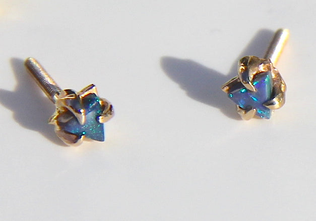The Tinniest Triangle Opal Studs with screw backs