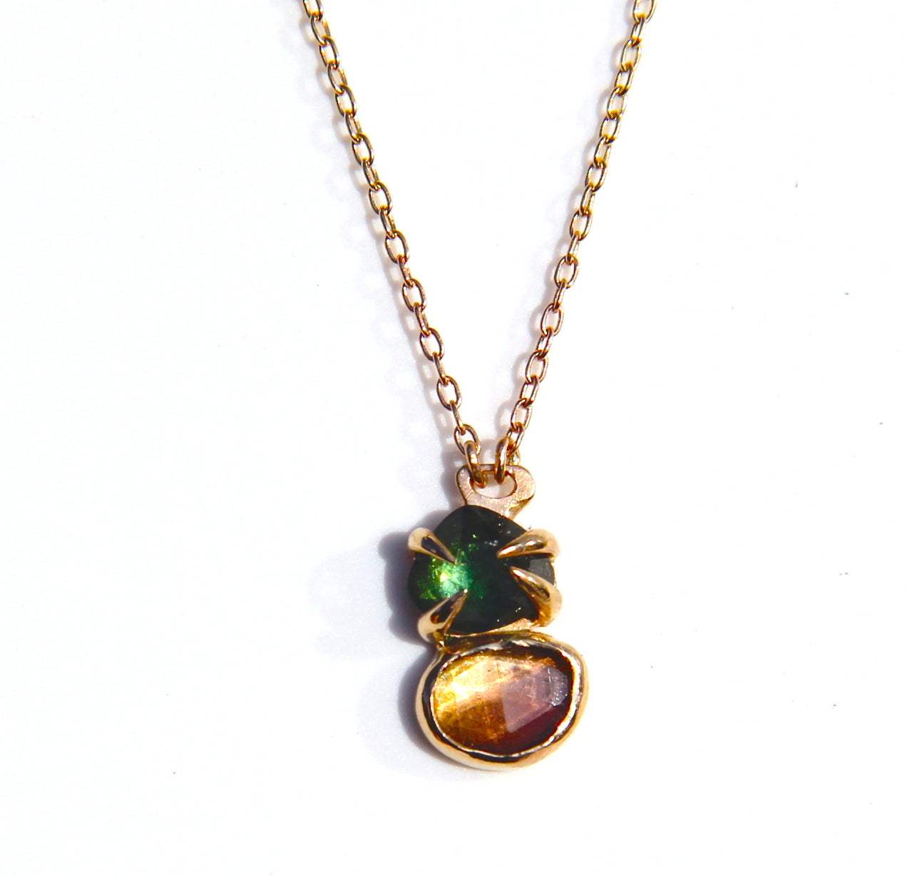 Green and Pink Tourmaline Necklace