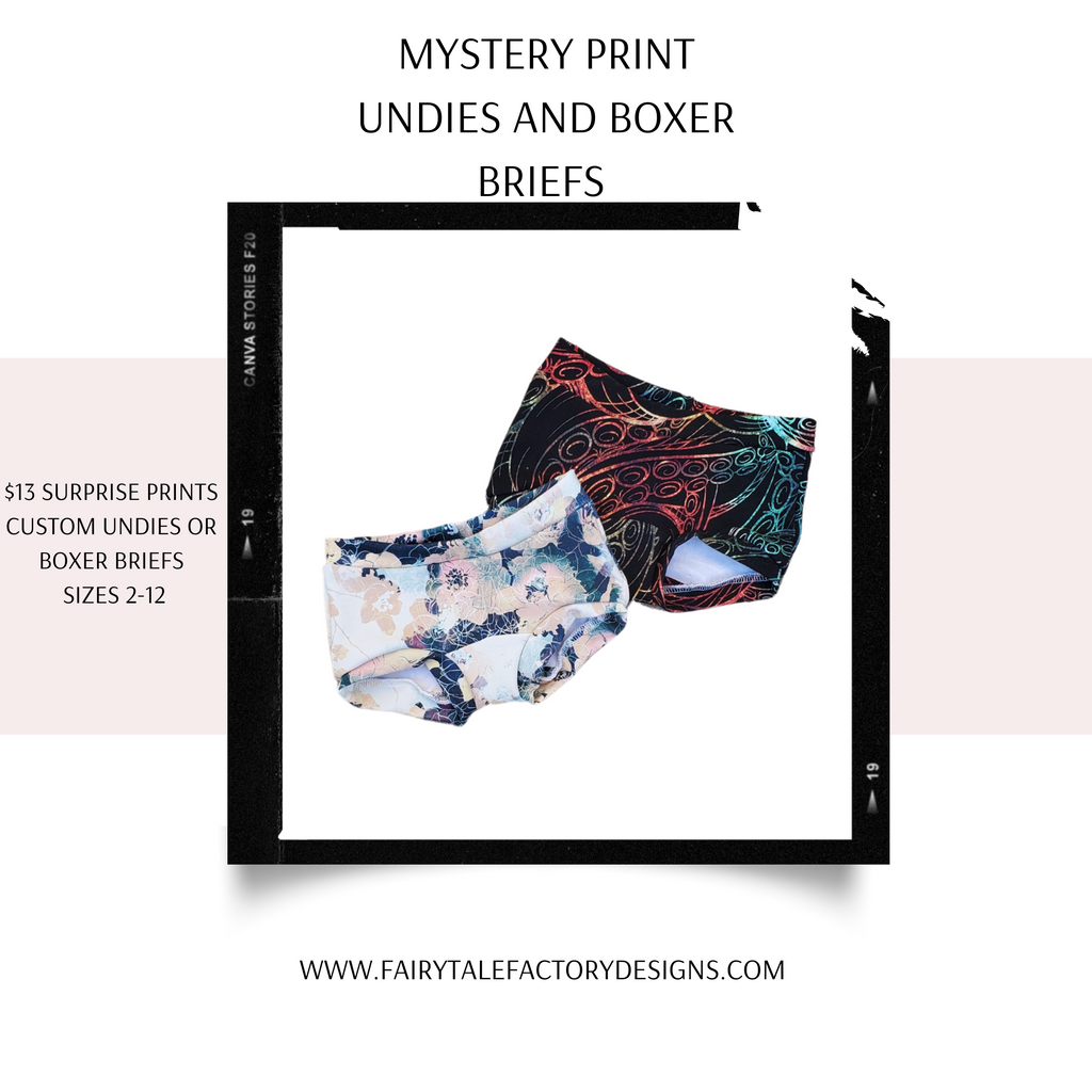 Mystery print undies and boxer briefs (specify gender in notes at checkout please)1-3 week TAT