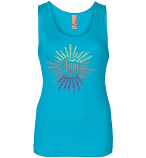 April Affirmation- sun Feminine cut tank