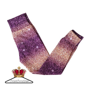 Purple and Gold Glitter Leggings