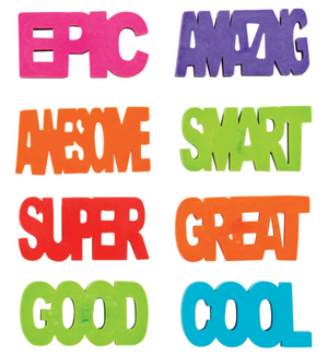 4 COOL WORD ERASERS