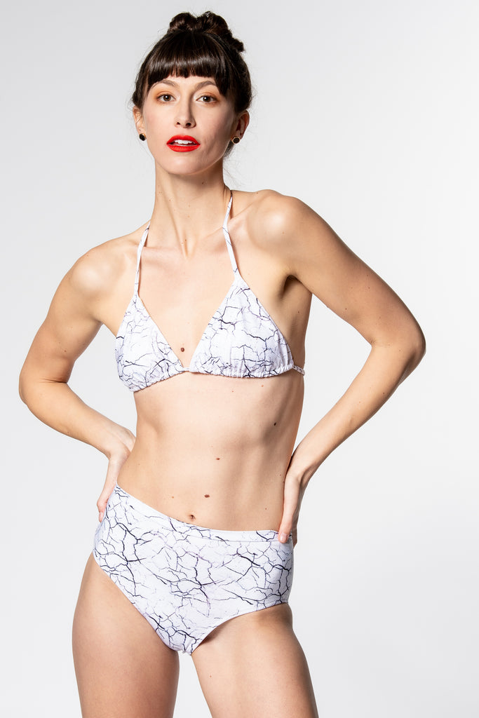 Heartstrings Bikini Set in White Marble
