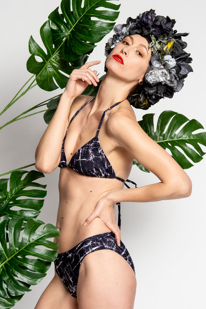 Heartstrings Bikini in Black Marble Lo-Waisted