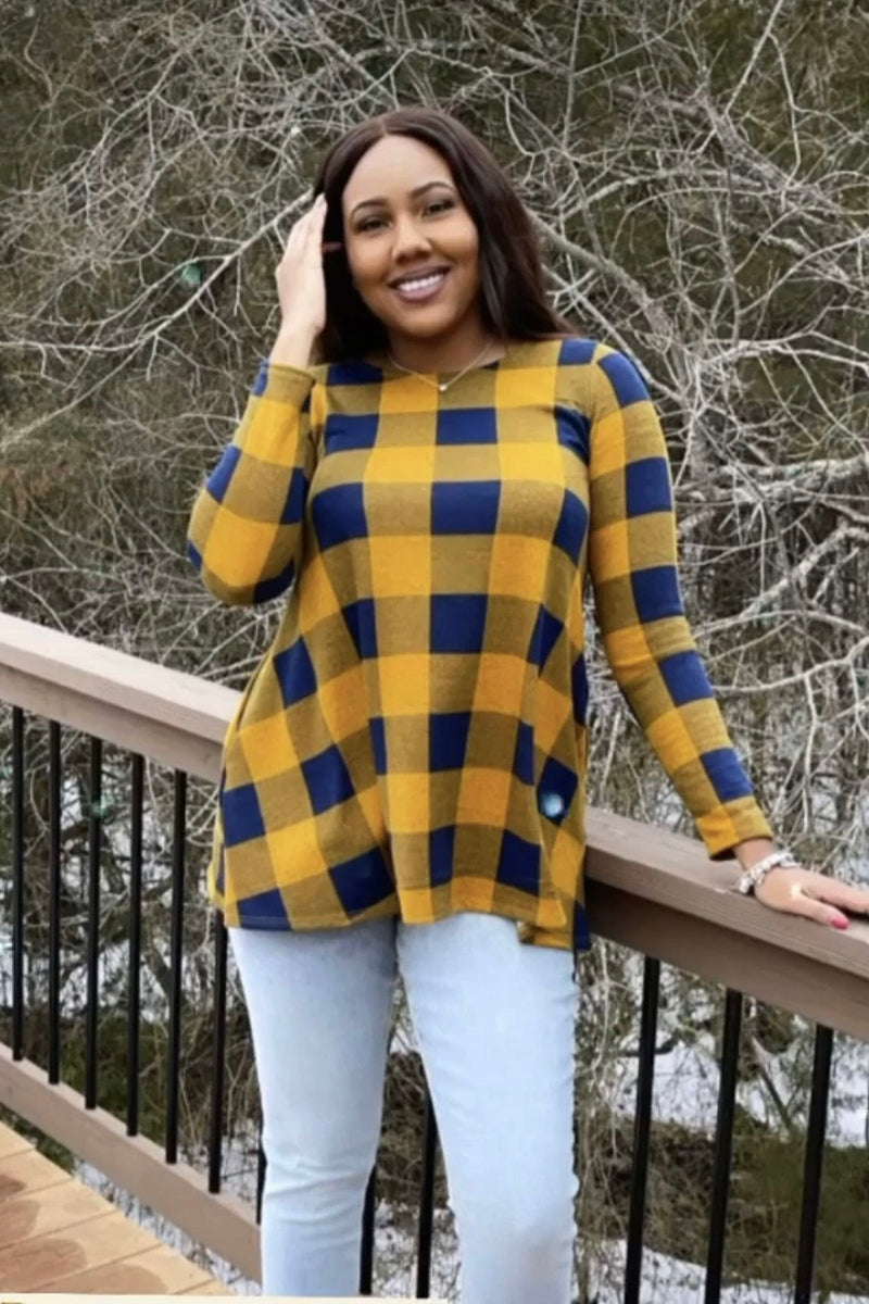Plaid A-line top