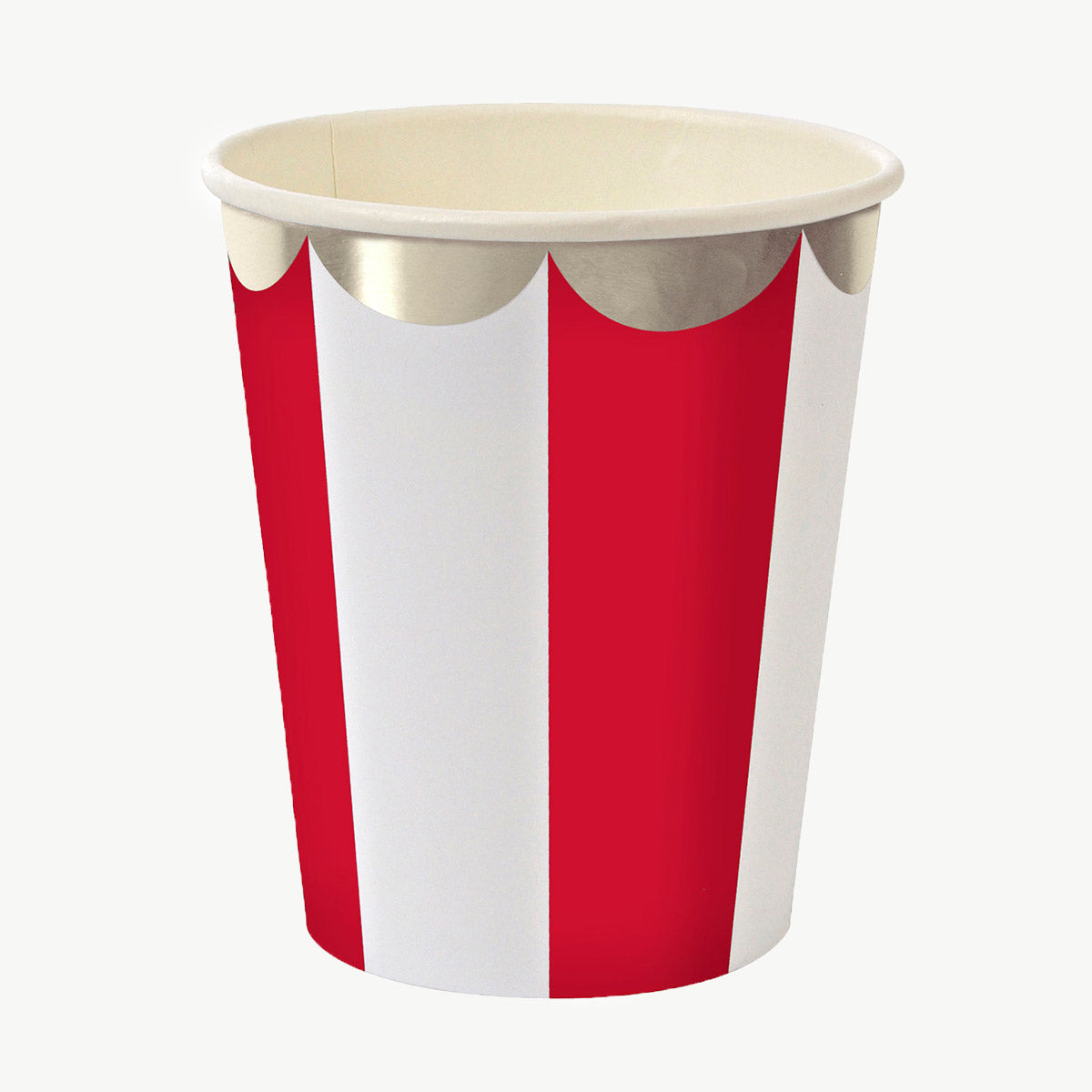 Red striped cups x8