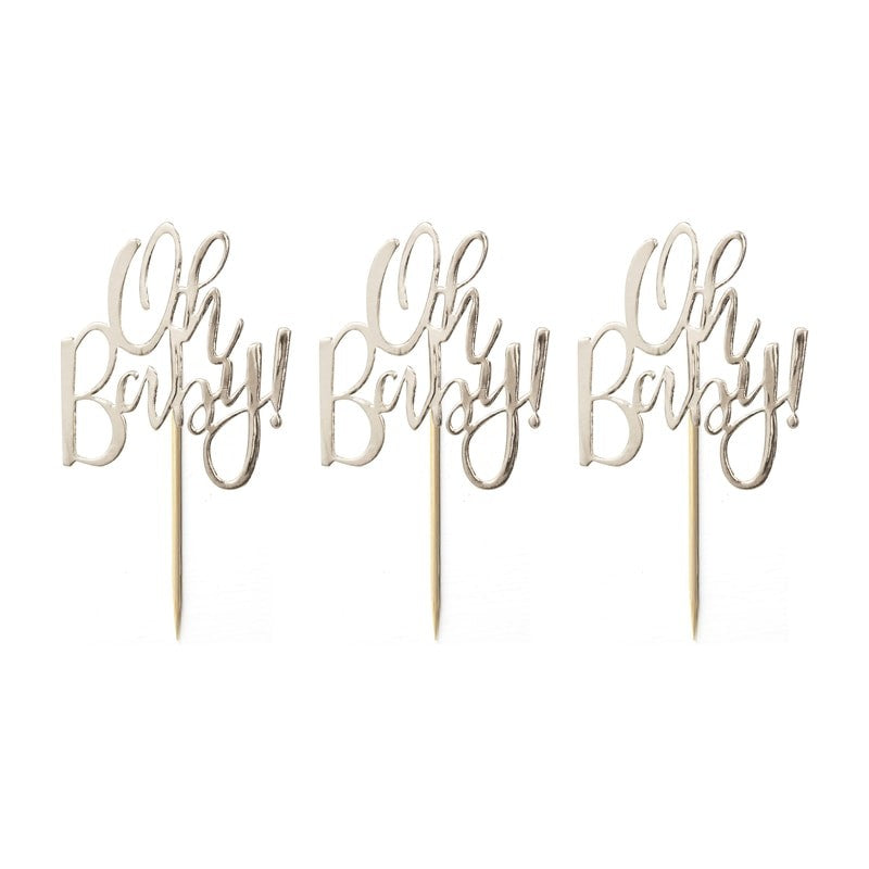 "Cupcake Toppers ""Oh Baby"" x12"