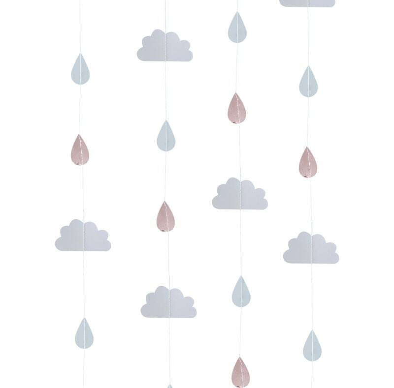 Raindrops and clouds decoration