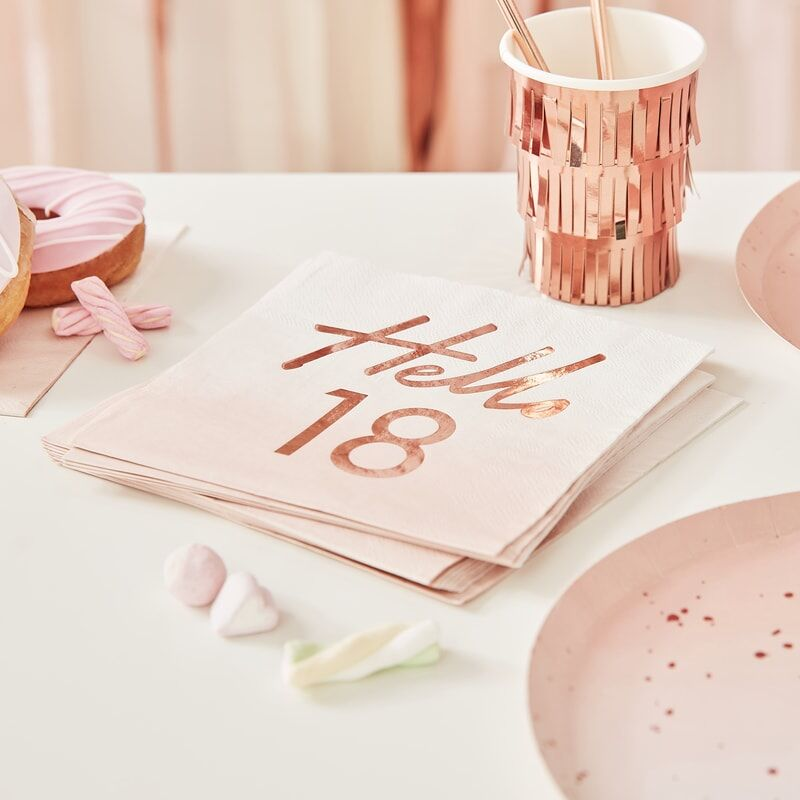 Serviettes anniversaire Hello 18 ans or rose x16