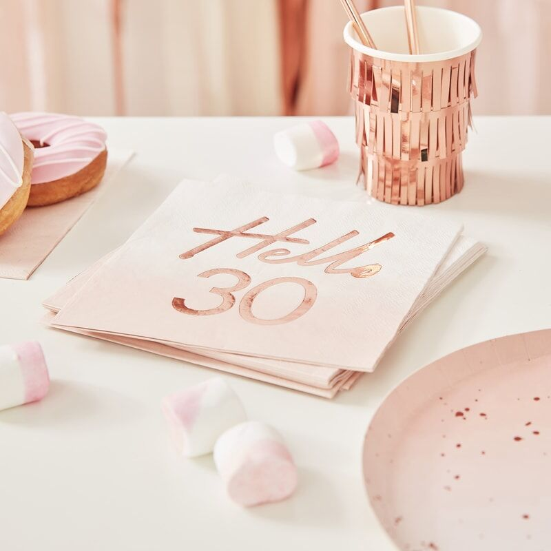 Serviettes anniversaire Hello 30 ans or rose x16