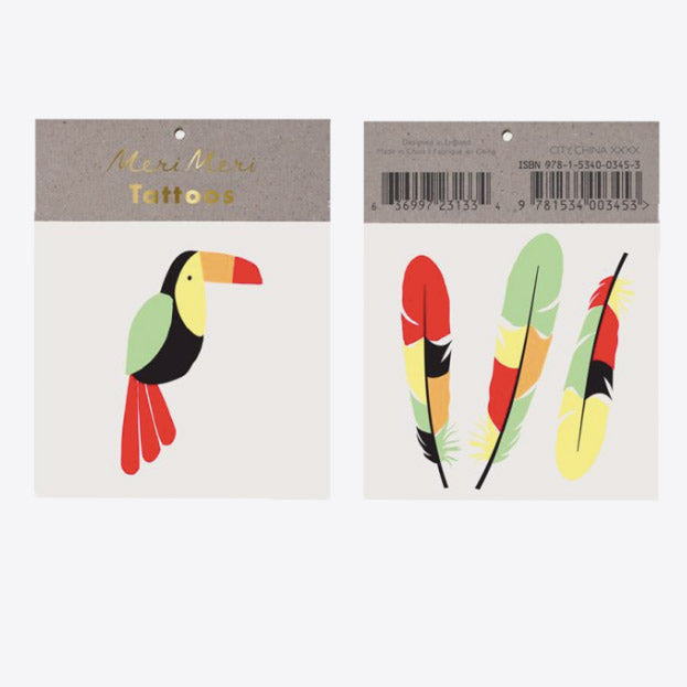 Tattoo Toucan et plumes