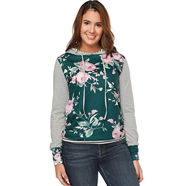 01a93c5a9900 Jetewish Women's Floral Print Hoodie Sweater Pullover Loose Long Sleeve T- Shirt Top